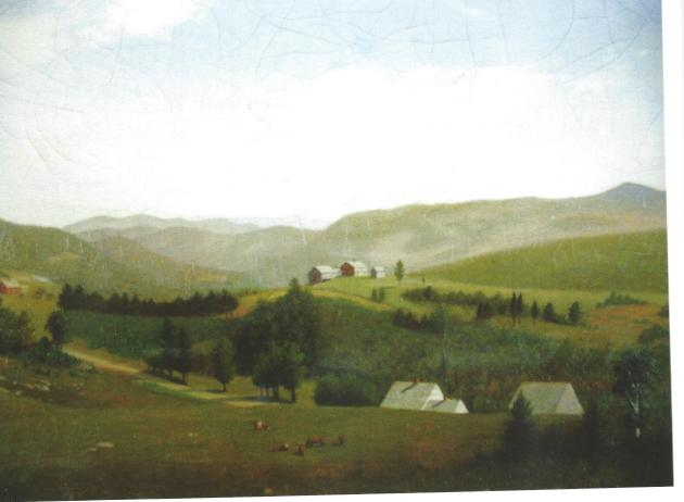 C.A. Hunt painting of Goe Hill Homesteads, undated